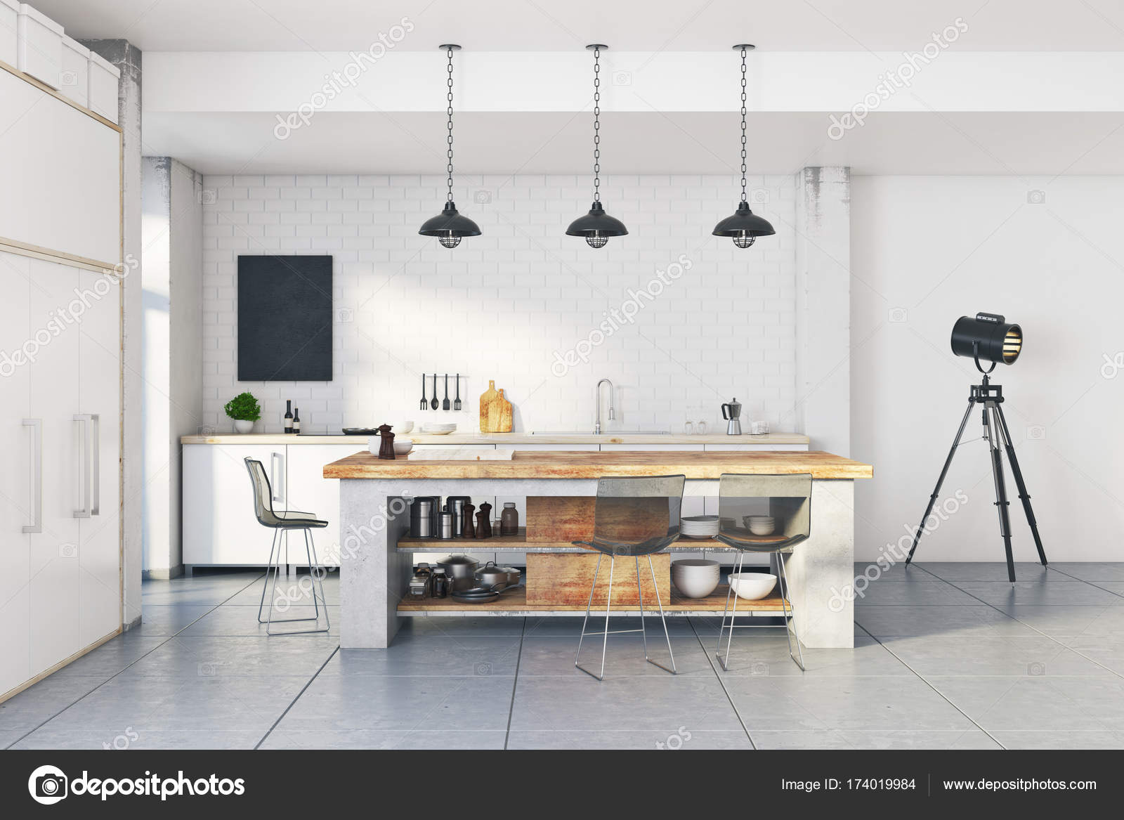 Moderne Loft-weiße Küche-Interieur — Stockfoto © peshkova #174019984