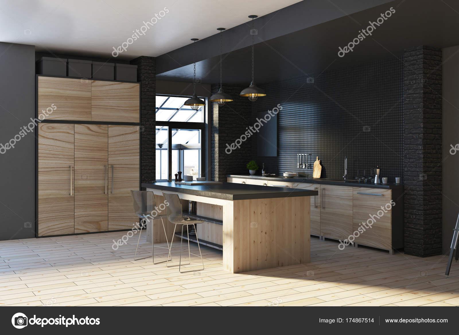 moderne loft schwarze k che interieur stockfoto peshkova 174867514. Black Bedroom Furniture Sets. Home Design Ideas