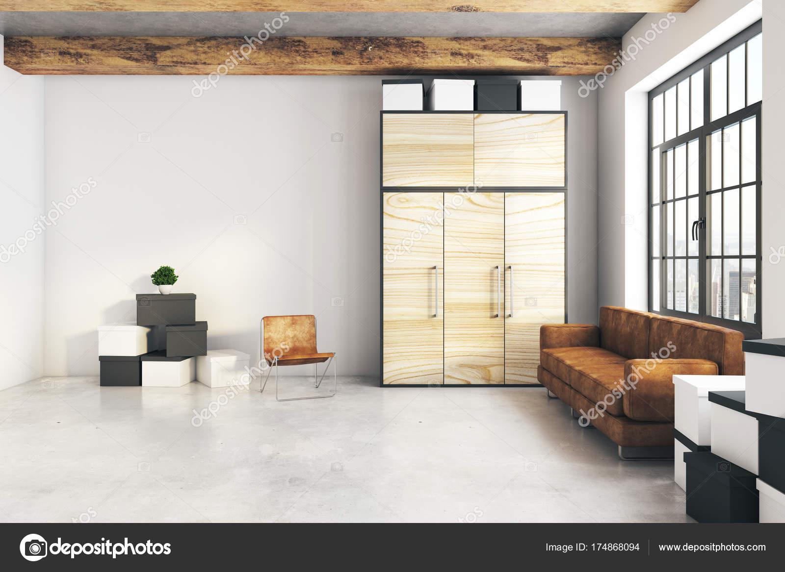 Salone moderno con parete vuota — Foto Stock © peshkova #174868094