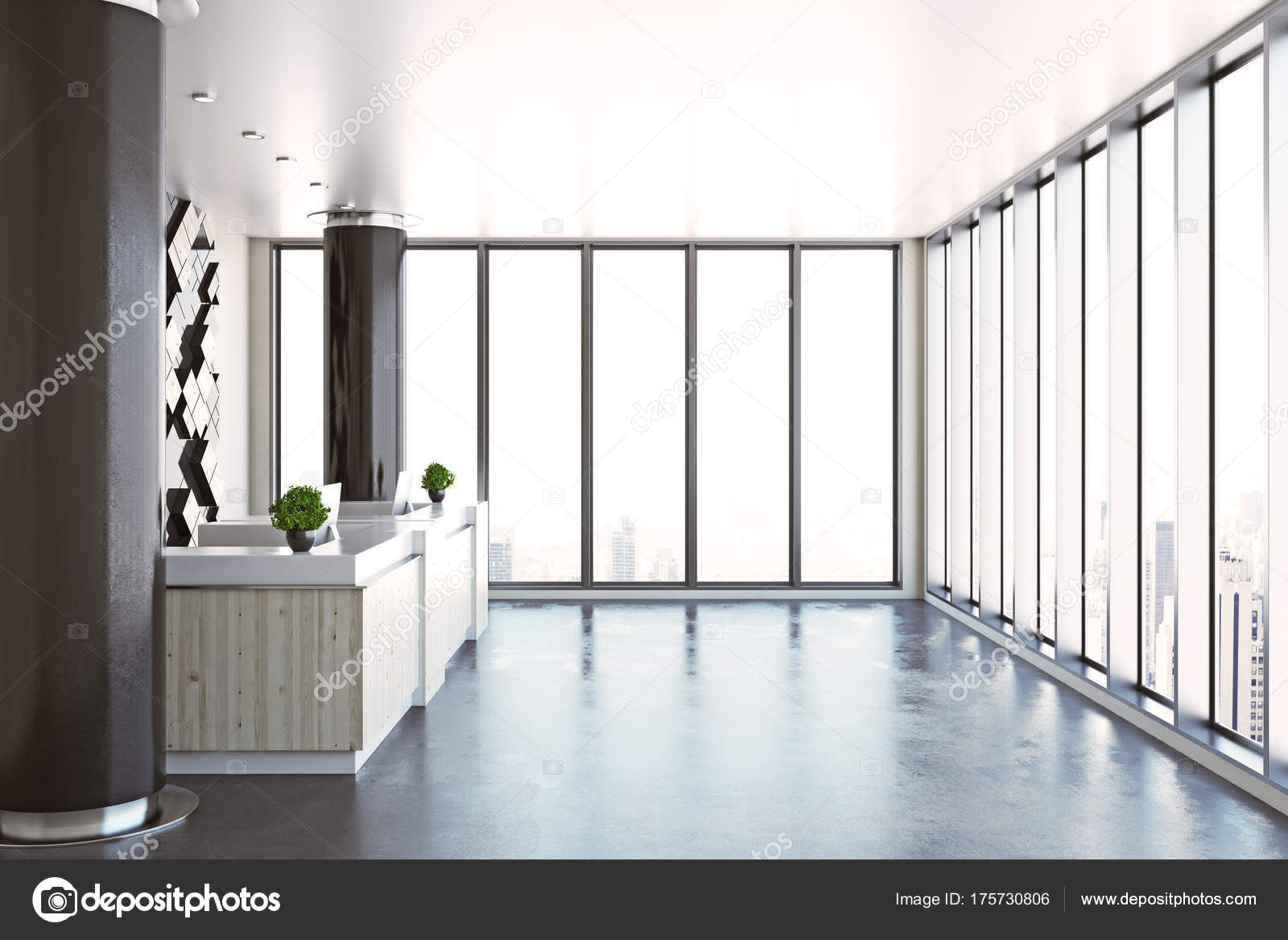 Contemporary Office Reception Throughout Contemporary Office Reception Side Stock Photo Peshkova 175730806