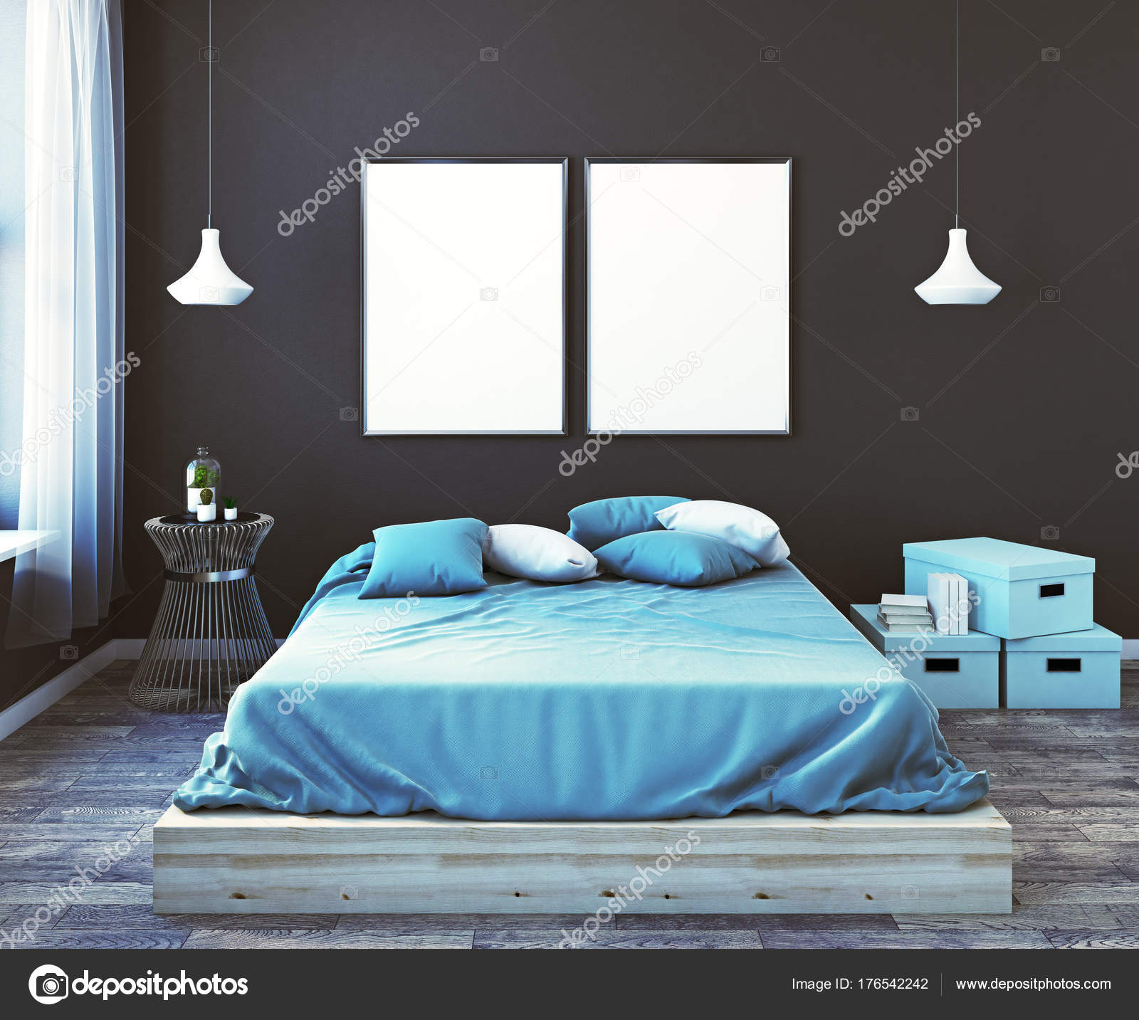 Modern Male Bedroom With Empty Banner Front U2014 Stock Photo