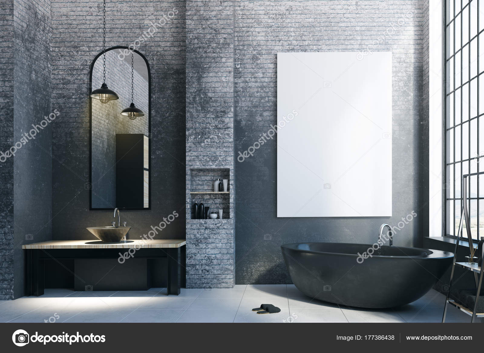 Salle De Bain Et Dressing Dans Chambre ~ Salle De Bain Loft Moderne Avec Panneau D Affichage Vide