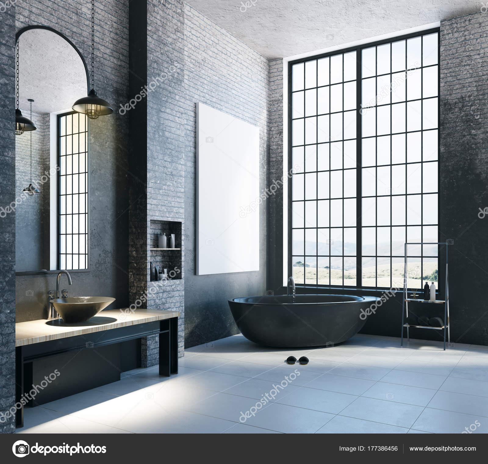 Moderne loft badkamer met lege banner — Stockfoto © peshkova #177386456