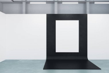 Modern gallery with blank poster