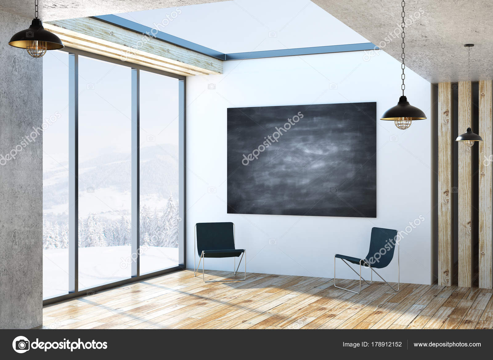 Modern interior with chalkboard poster u stock photo peshkova