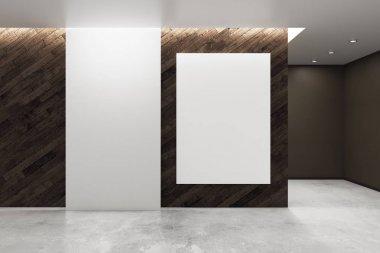Loft interior with blank banner