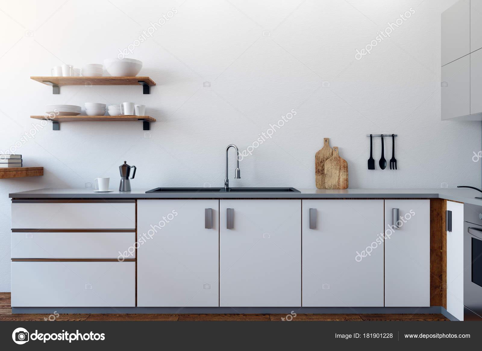 Weiße Küche Interieur Mit Geräten Und Möbeln Stil Und Design ...