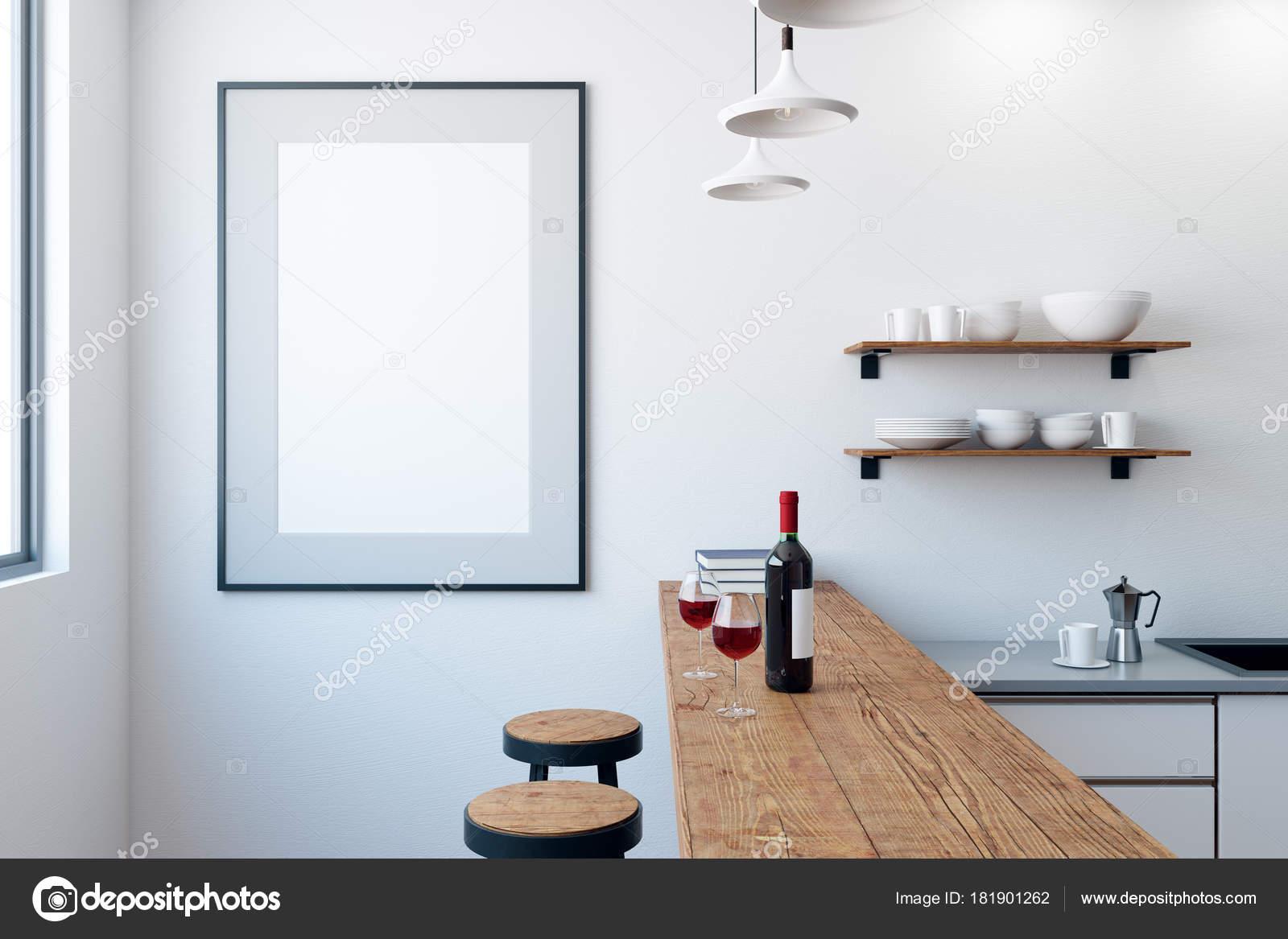 Moderne weiße kneipe oder bar interieur mit leeren poster wand