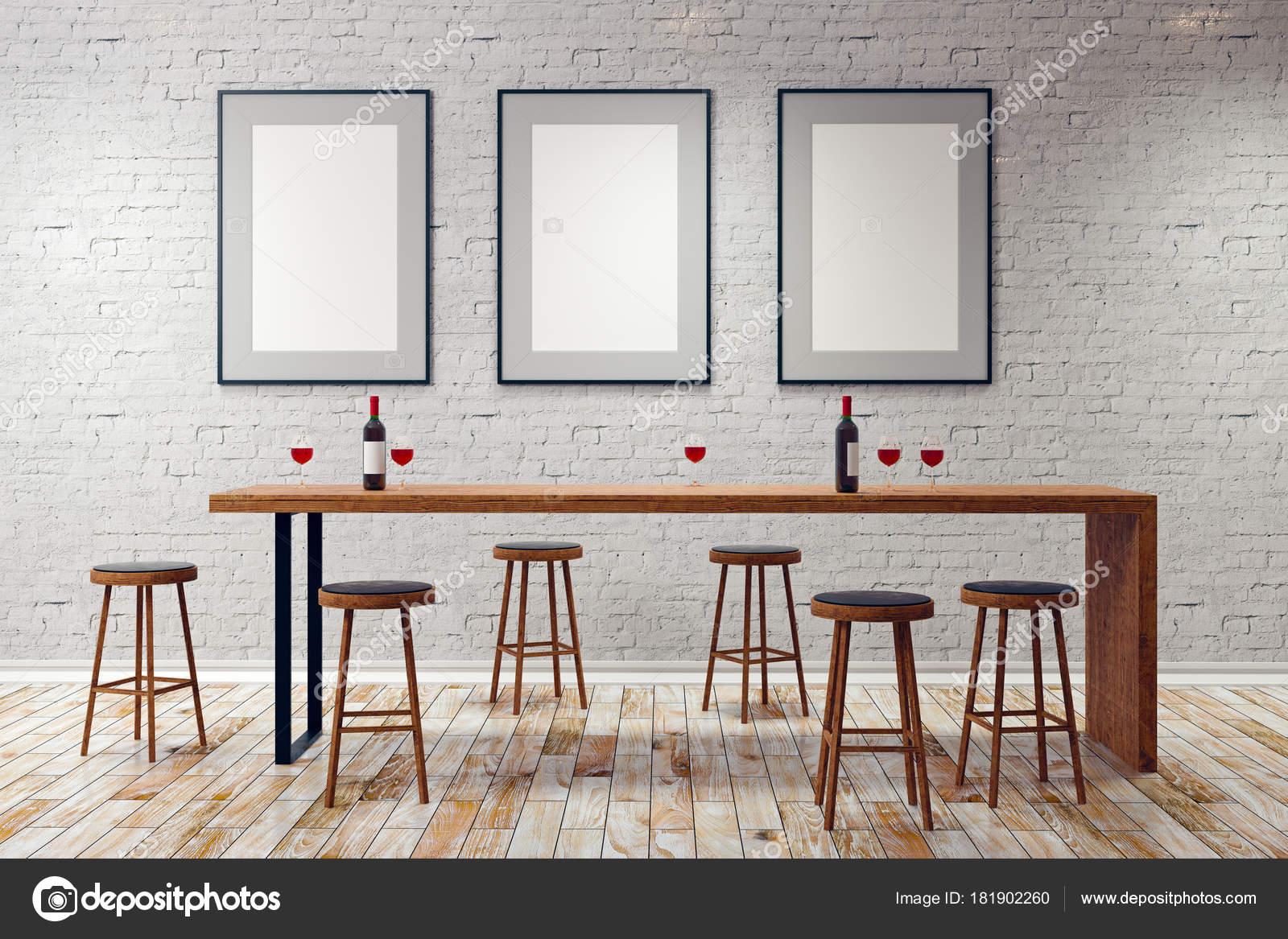 Moderne Weiße Kneipe Oder Bar Interieur Mit Leeren Rahmen Wand ...