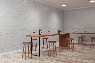Modern white brick pub or bar interior with copy space on wall. Side view, Mock up, 3D Rendering