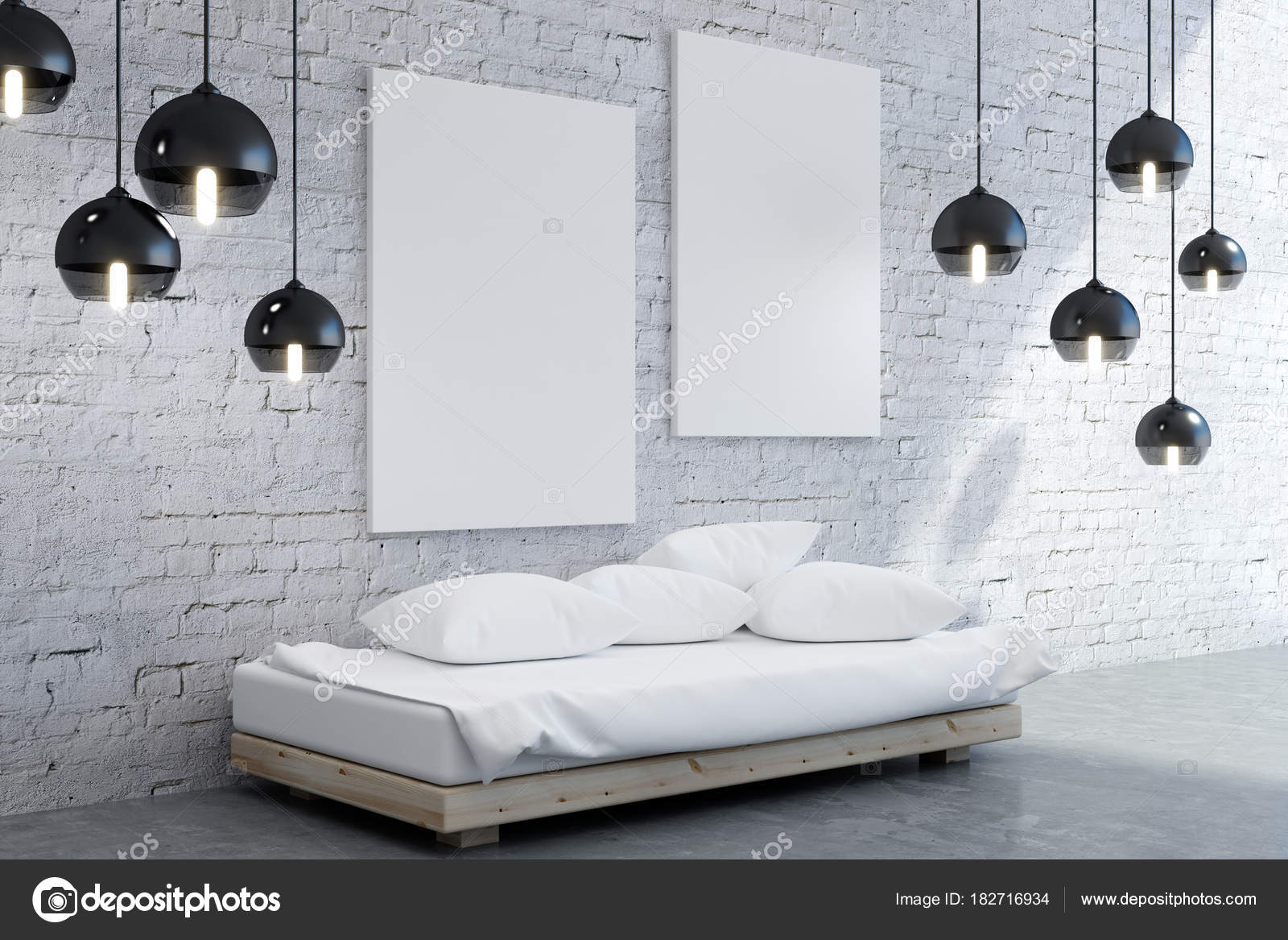Moderne Schlafzimmer Innenraum mit poster — Stockfoto ...