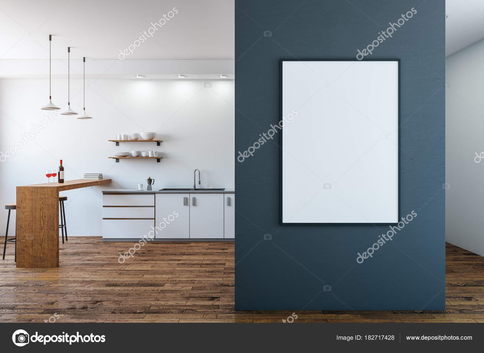 Moderne küche mit leeren poster u stockfoto peshkova