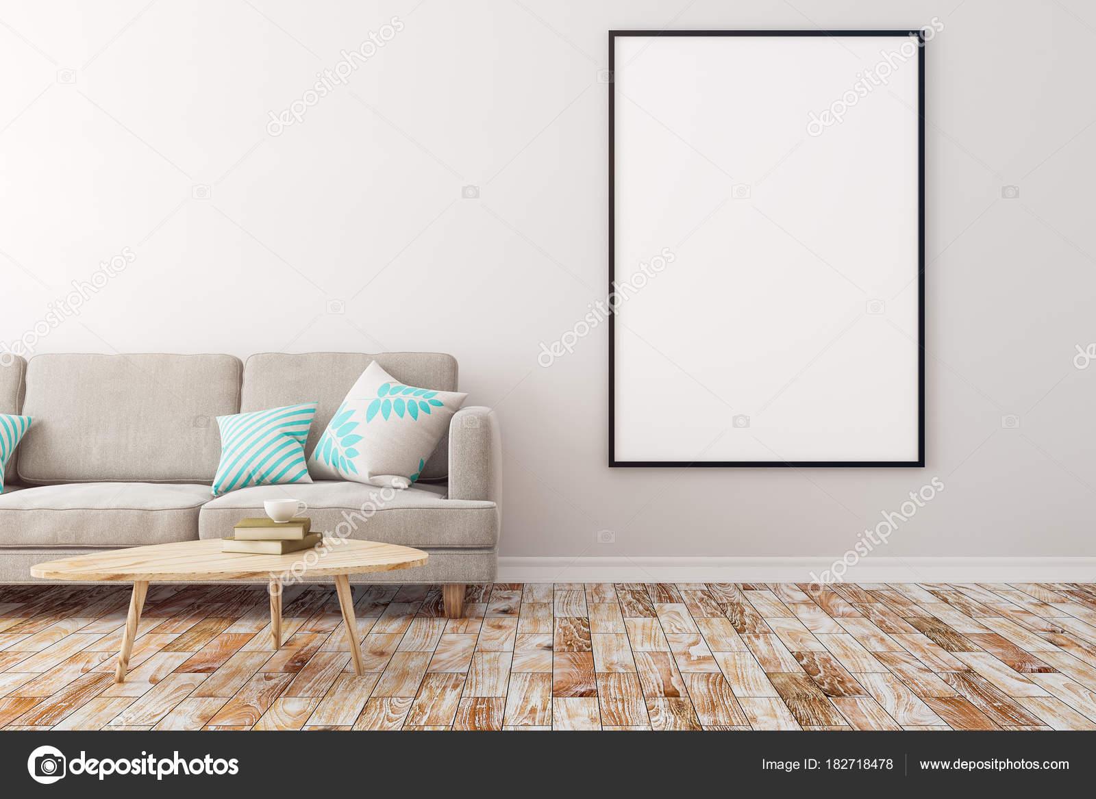Zeitgenössische Wohnzimmer mit leeren poster — Stockfoto © peshkova ...