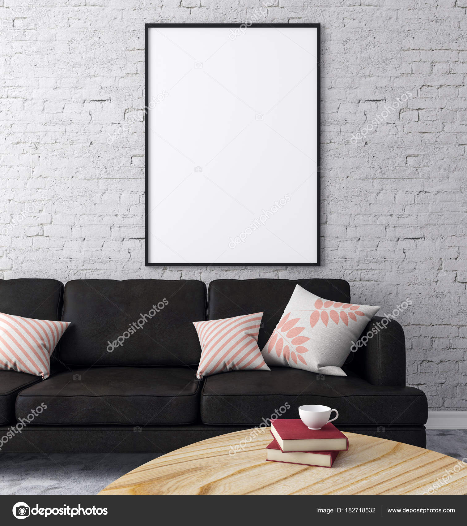 Loft Ziegel Wohnzimmer Einrichtung Mit Möbeln Und Leeren Plakatwand An Wand.  Konzept, Design Und Stil. 3D Rendering U2014 Foto Von Peshkova