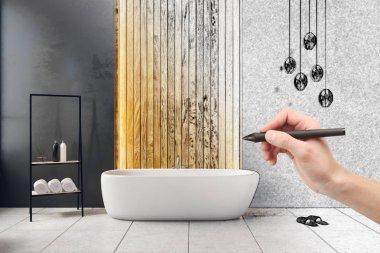 Hand drawing modern bathroom