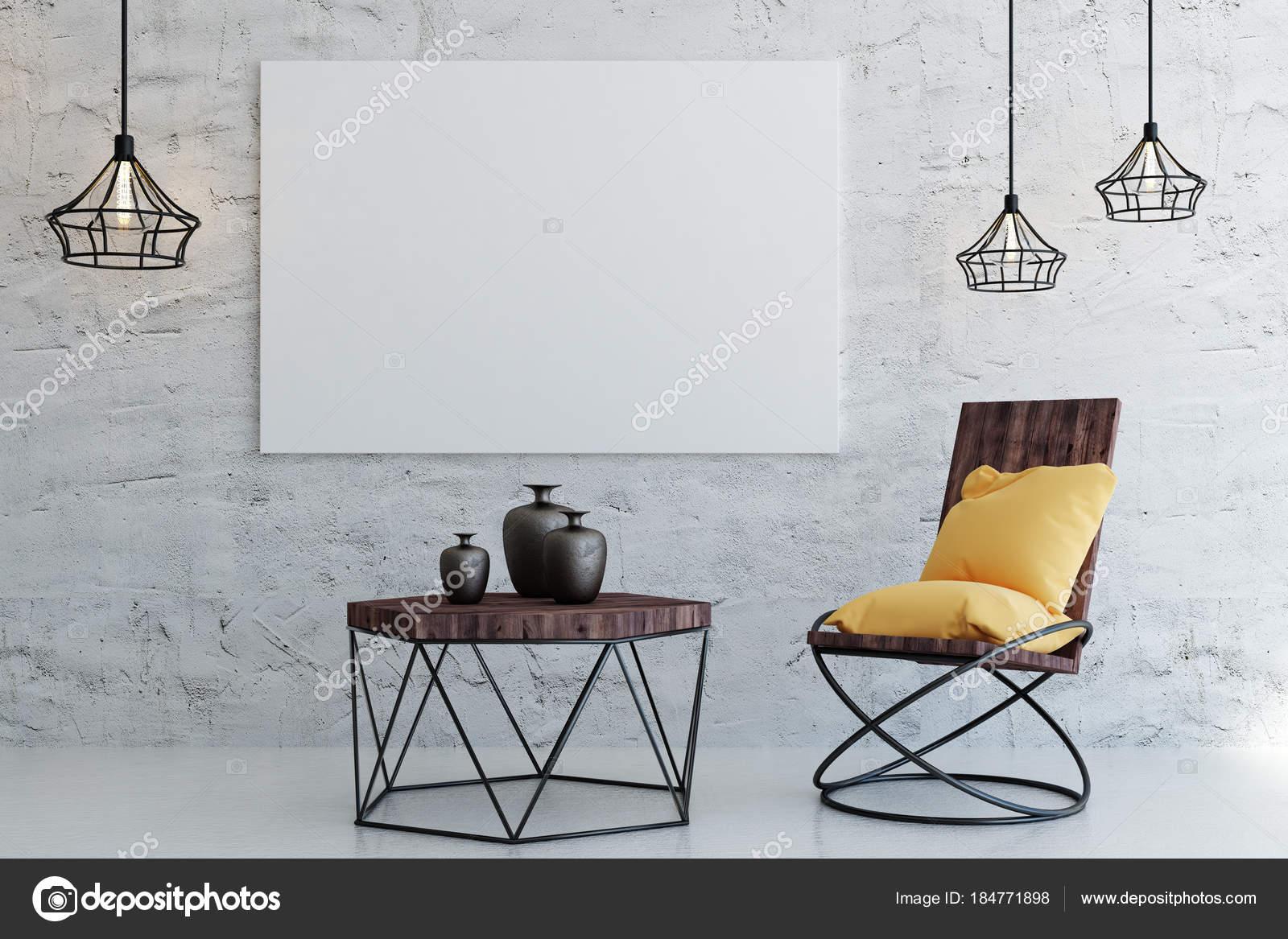Modernes wohnzimmer mit leeren poster u stockfoto peshkova