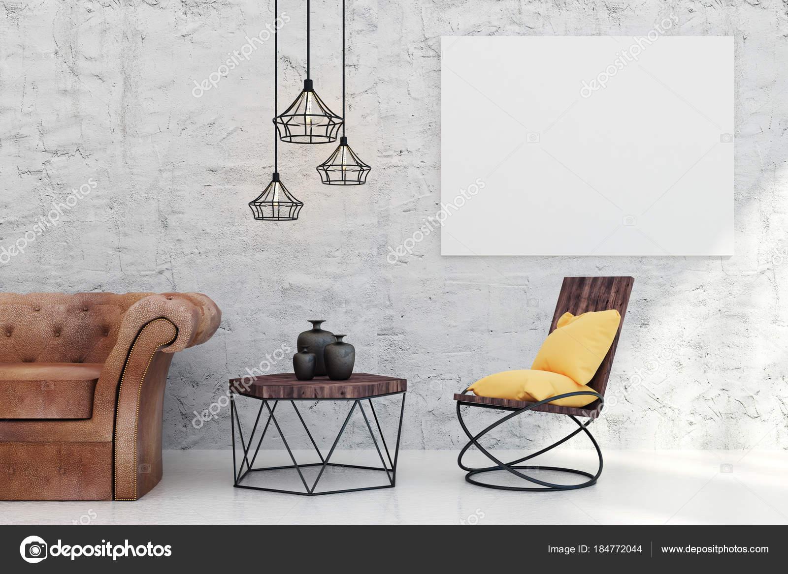 Zeitgenössische Wohnzimmer mit leeren banner — Stockfoto © peshkova ...