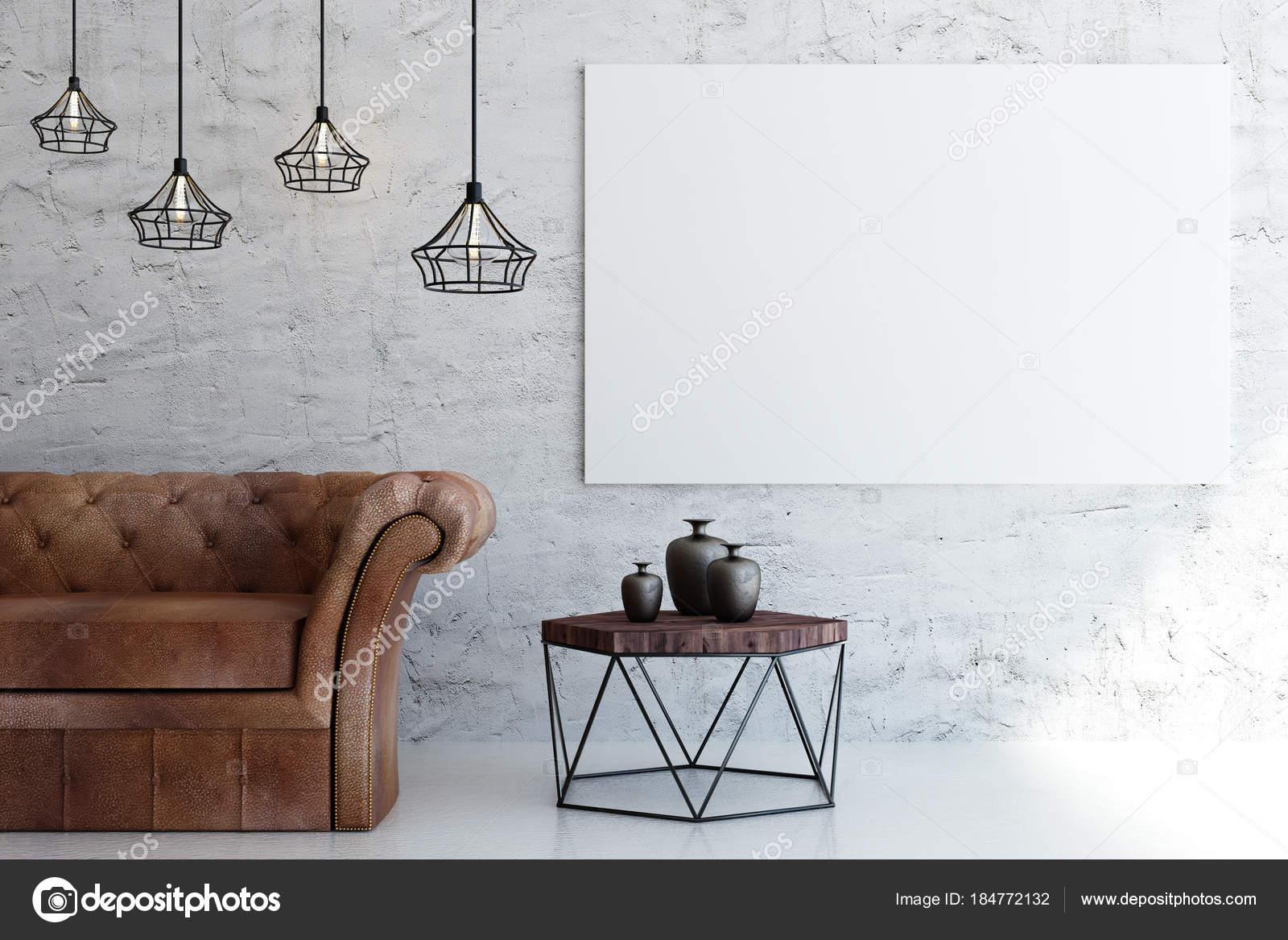 Zeitgenössische Wohnzimmer mit leeren Plakatwand — Stockfoto ...