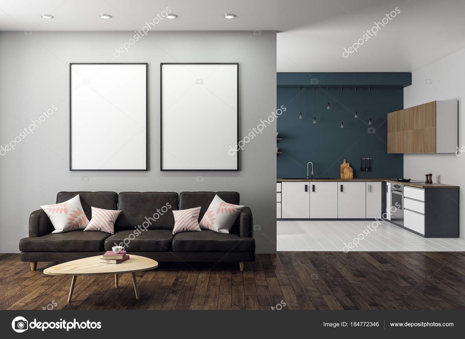 moderne studio interieur met lege banner stockfoto