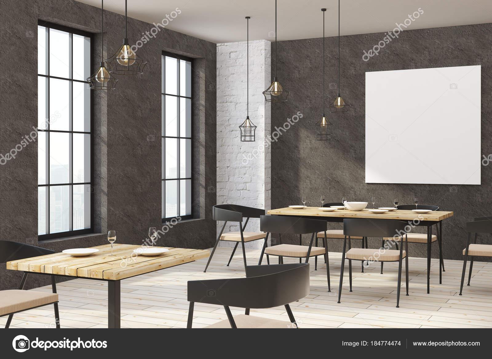 Modernes restaurant mit leeren poster u stockfoto peshkova
