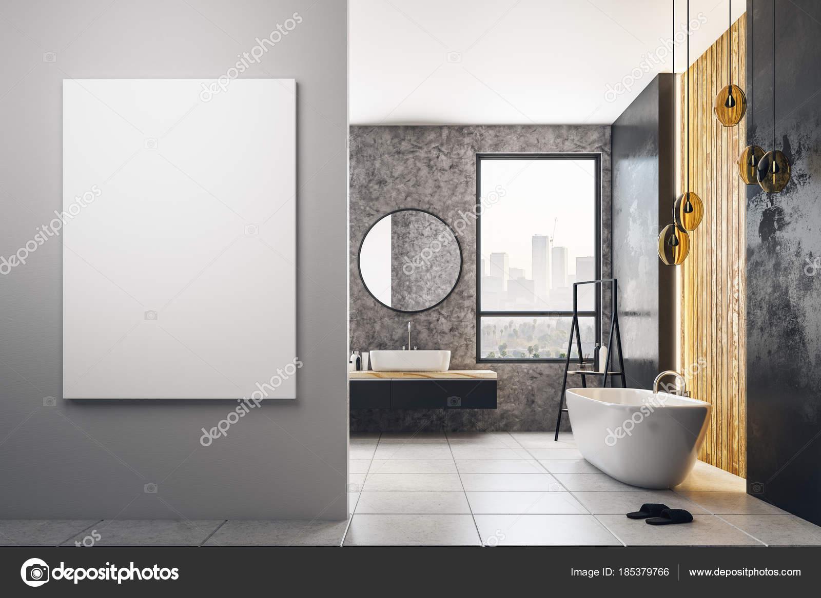 Sala Da Bagno Stile Contemporaneo : Stanza da bagno contemporanea con manifesto in bianco u foto stock