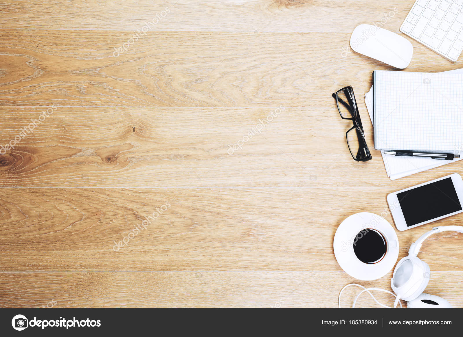 Wooden Office Desk Top With Items Stock Photo