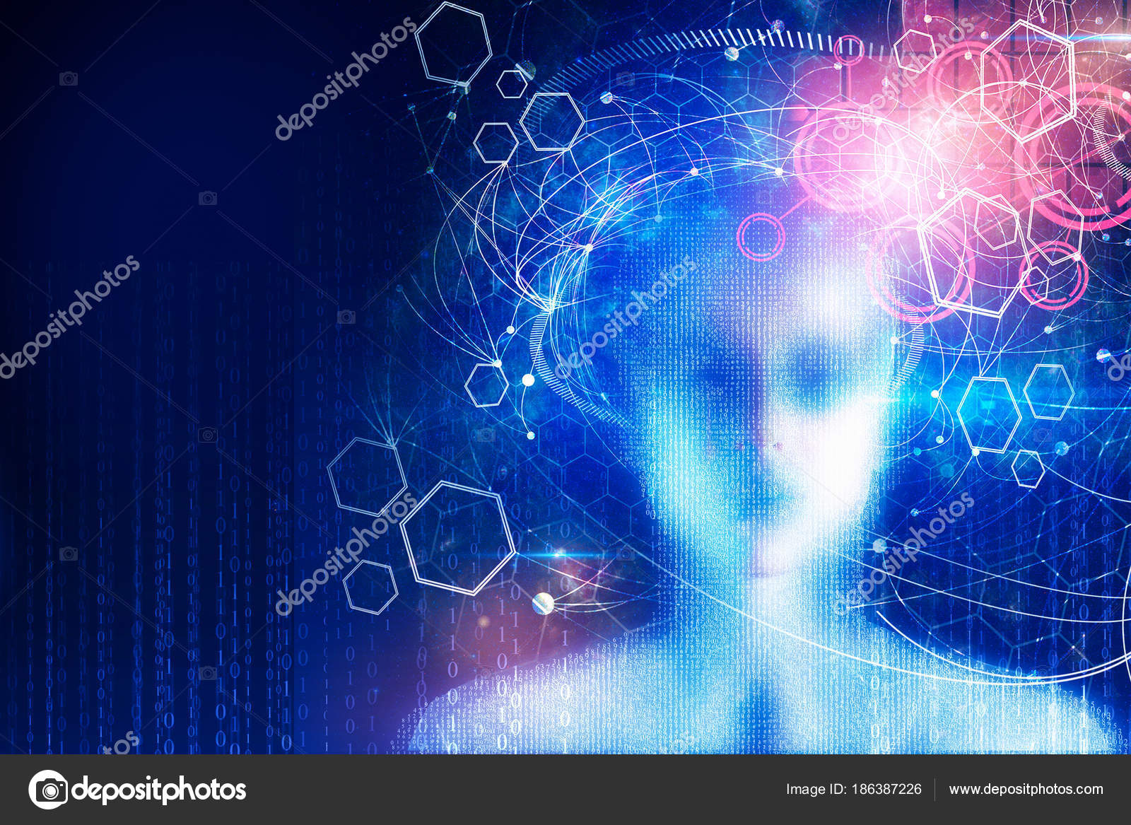 Abstract Digital Binary Code Female Head On Blue Wallpaper Computing Cyberspace And Programming Concept Double Exposure Photo By Peshkova
