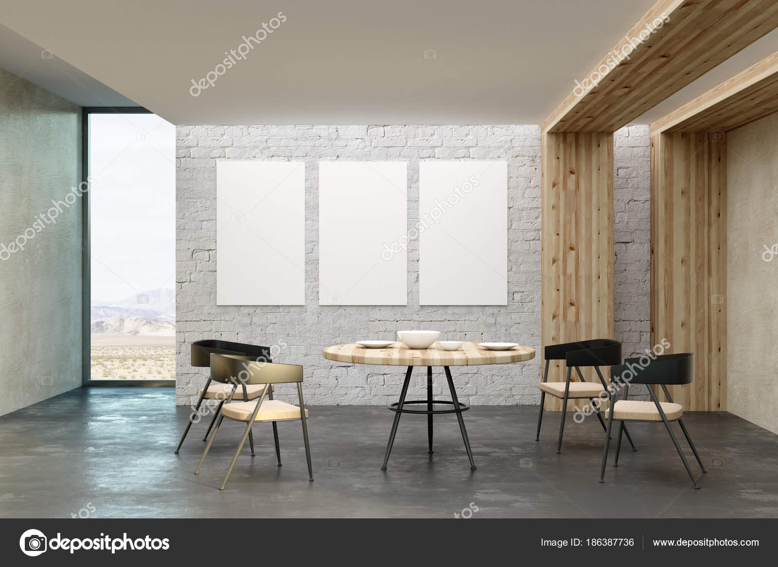 Modernes Wohnzimmer mit leeren Plakatwand — Stockfoto © peshkova ...