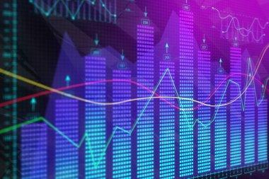 Glowing business chart backdrop