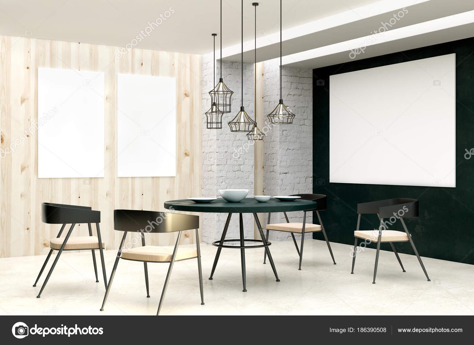 Designer living room with empty poster — Stock Photo © peshkova ...