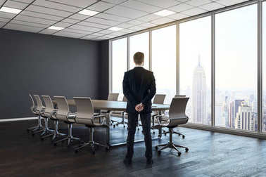 Man in modern meeting room