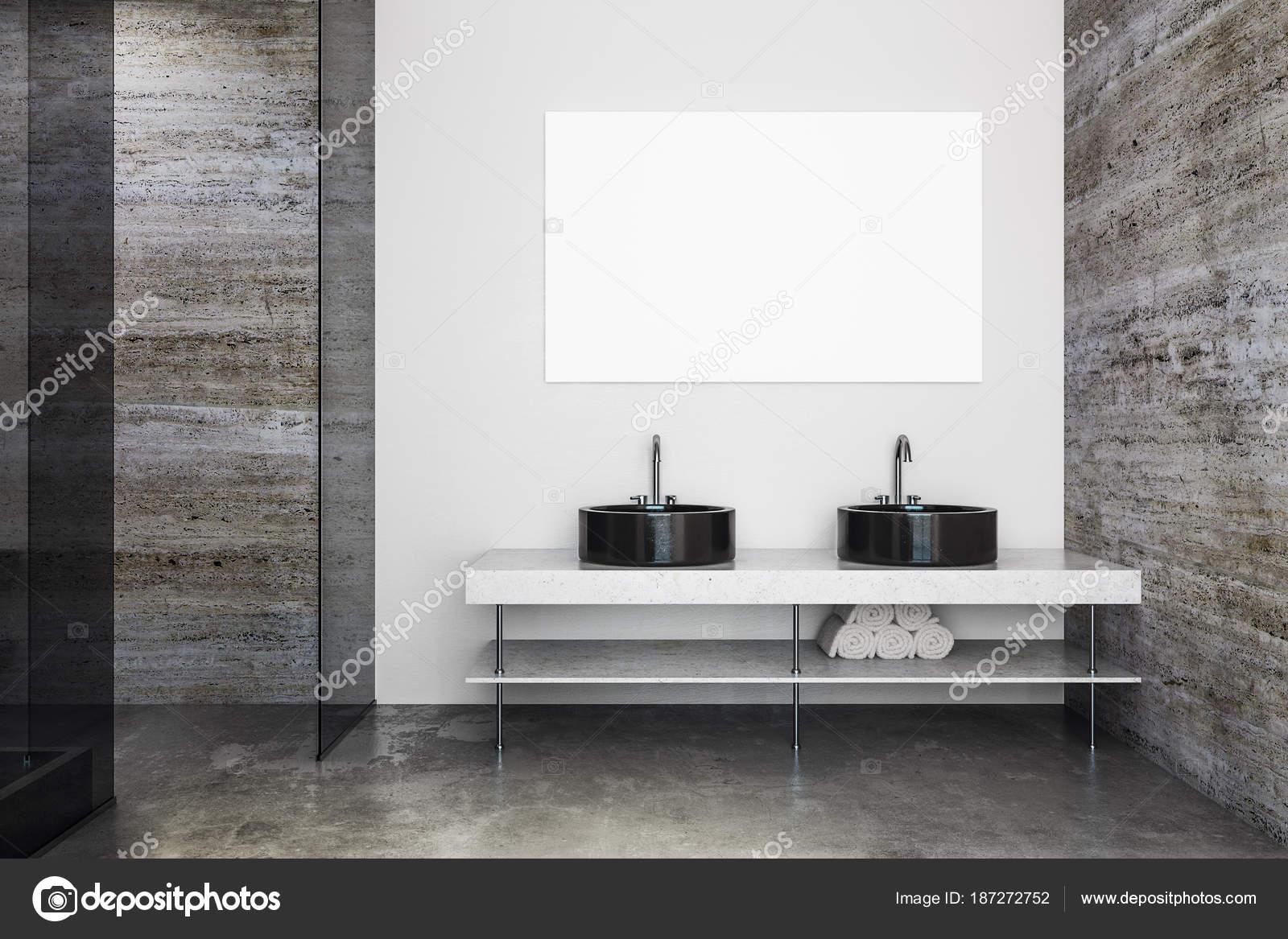 Modernes badezimmer mit waschbecken und poster u stockfoto