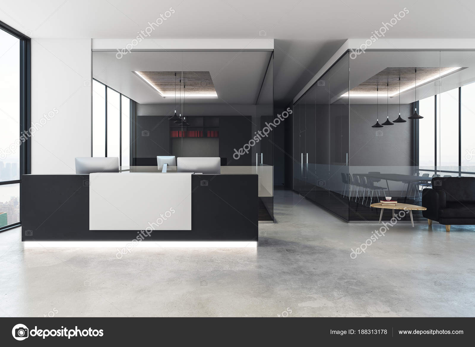 office reception interior. Modern Office Interior With Reception \u2014 Stock Photo R
