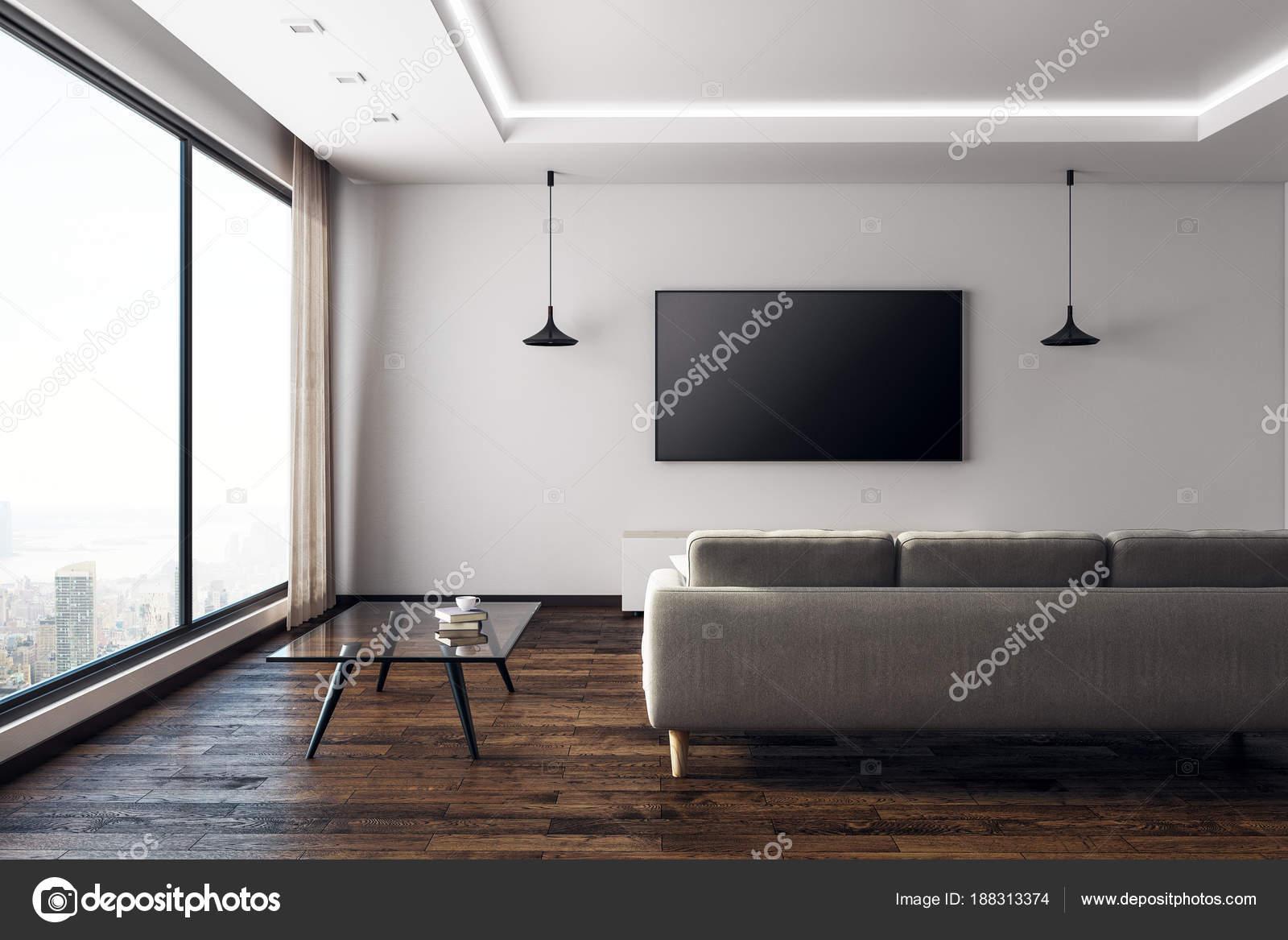 Zeitgenössische Wohnzimmer mit leeren Tv vorne — Stockfoto ...