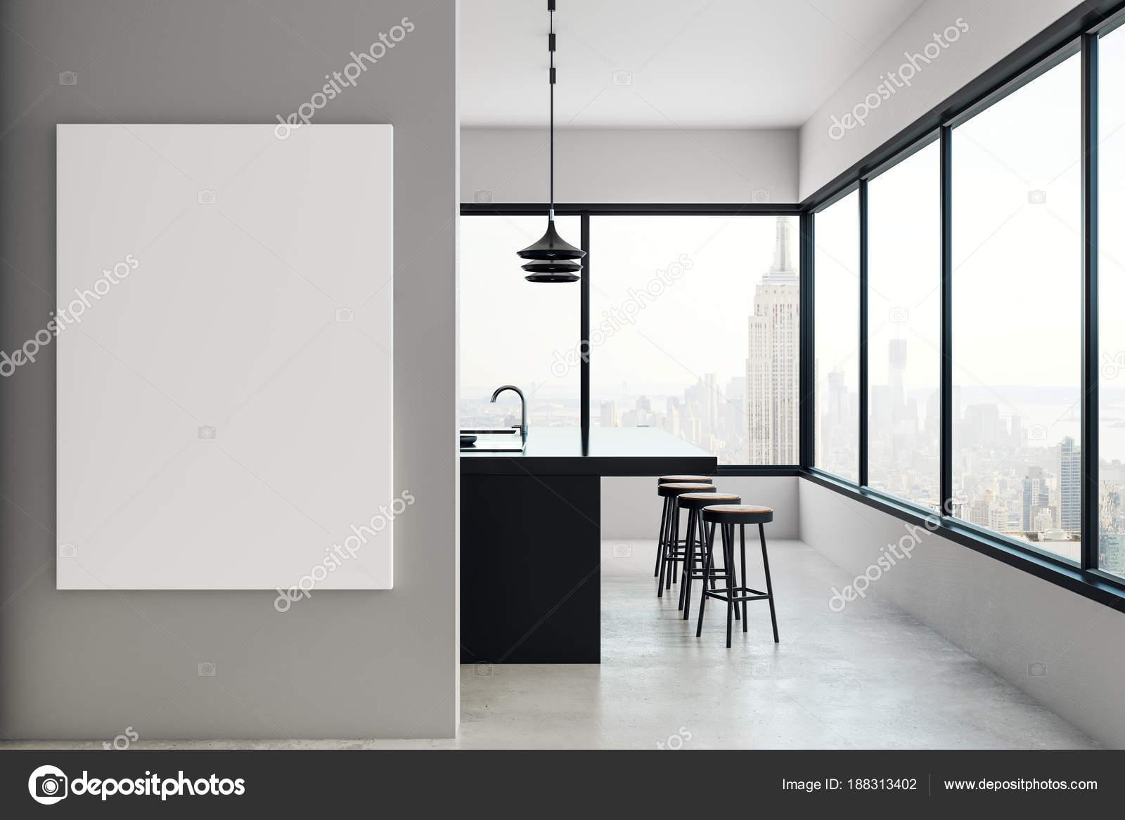 Moderne Küche mit Billboard und New York anzeigen — Stockfoto ...