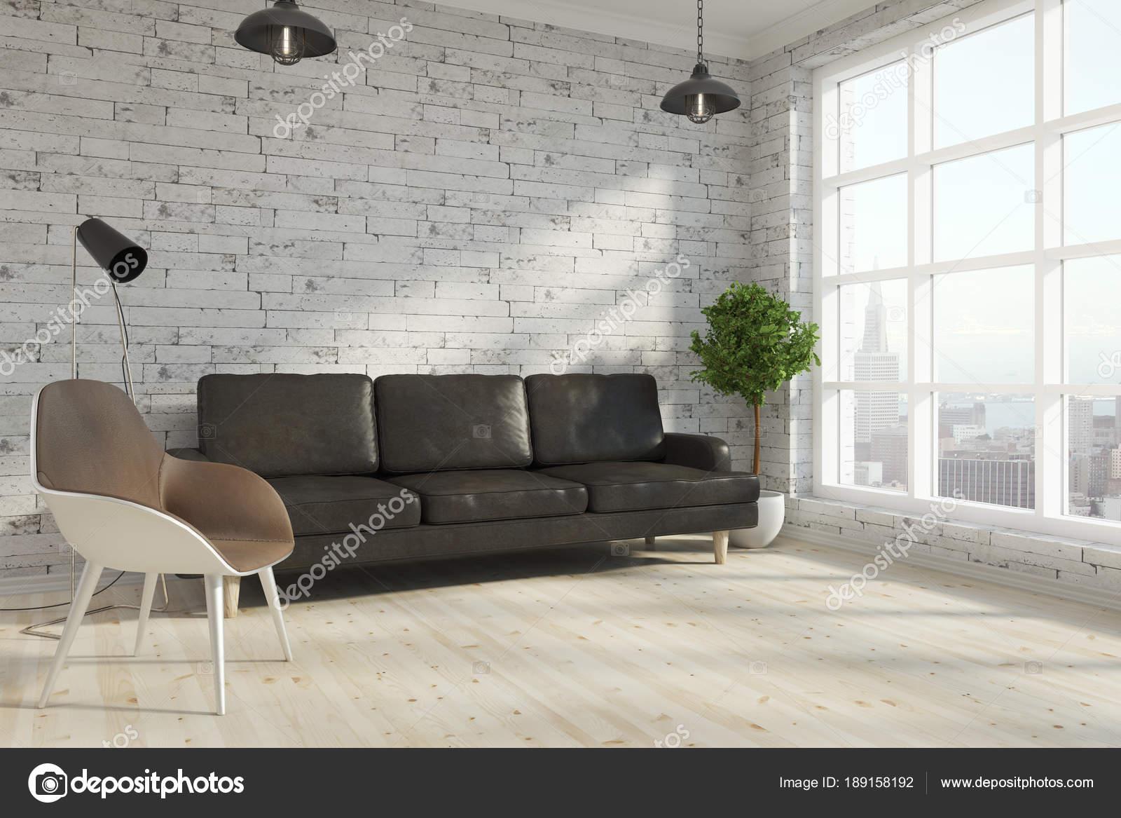 Zeitgenössische Backstein-Wohnzimmer — Stockfoto © peshkova #189158192