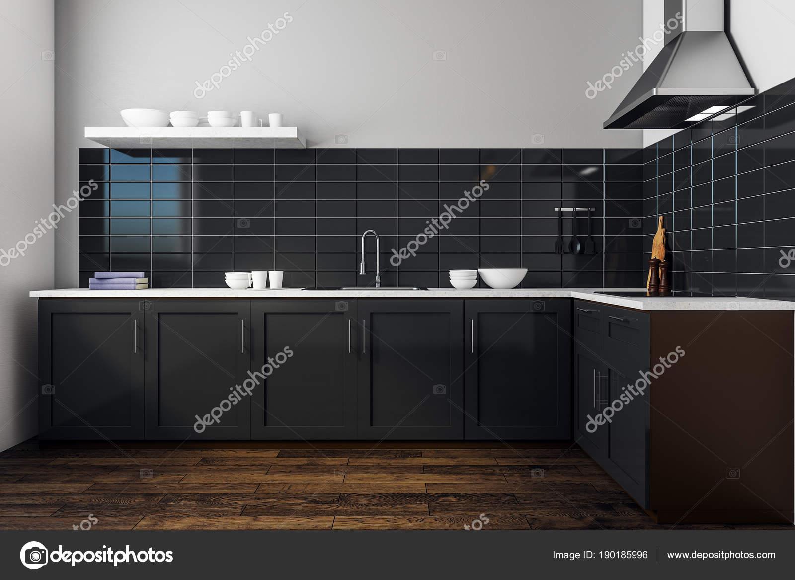 Moderne Zwarte Keuken : Moderne zwarte keuken interieur u stockfoto peshkova