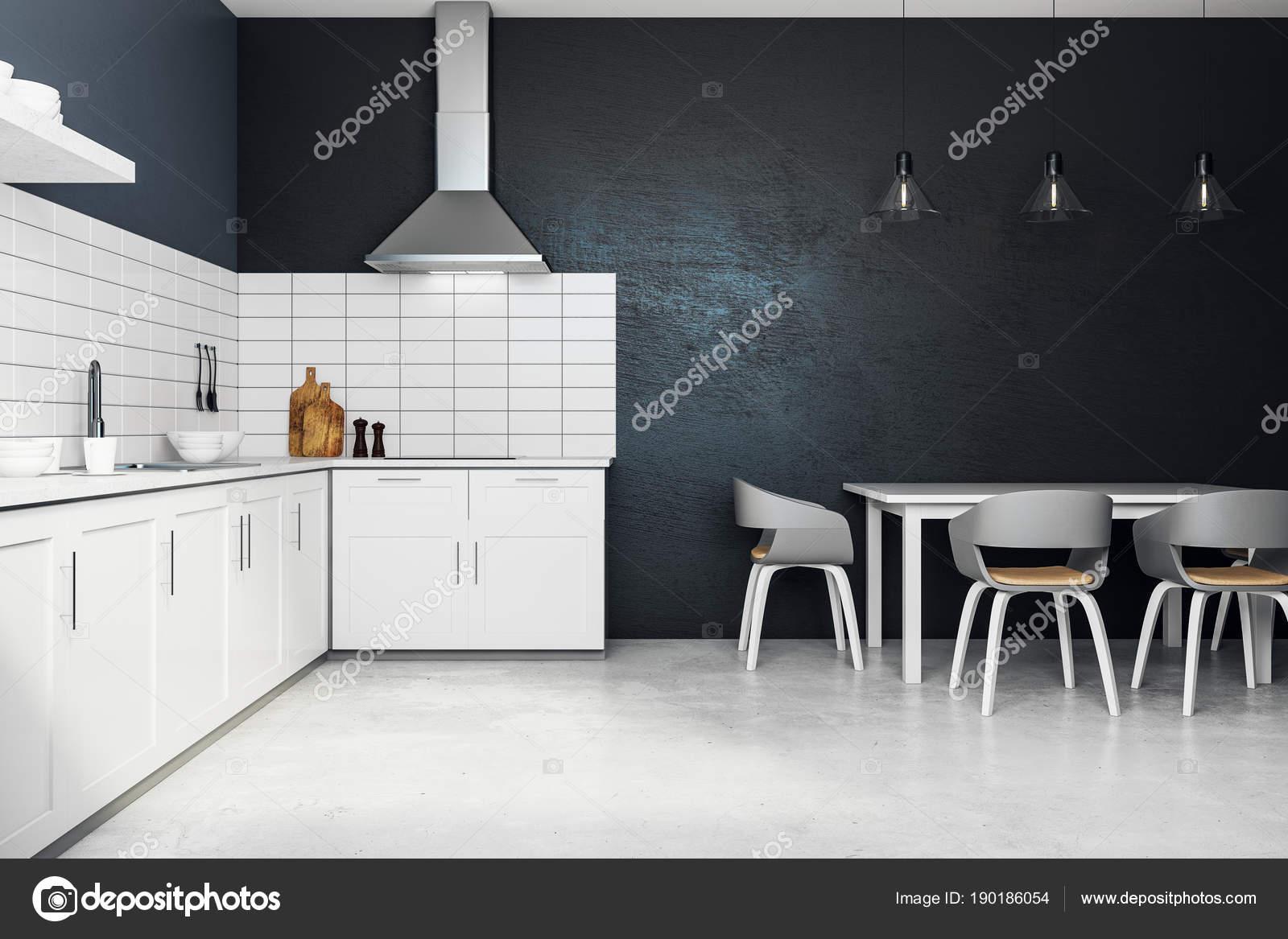 Nieuwe witte keuken interieur u2014 stockfoto © peshkova #190186054
