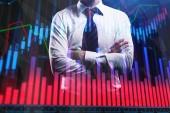 Podnikatel s barevnými forex graf