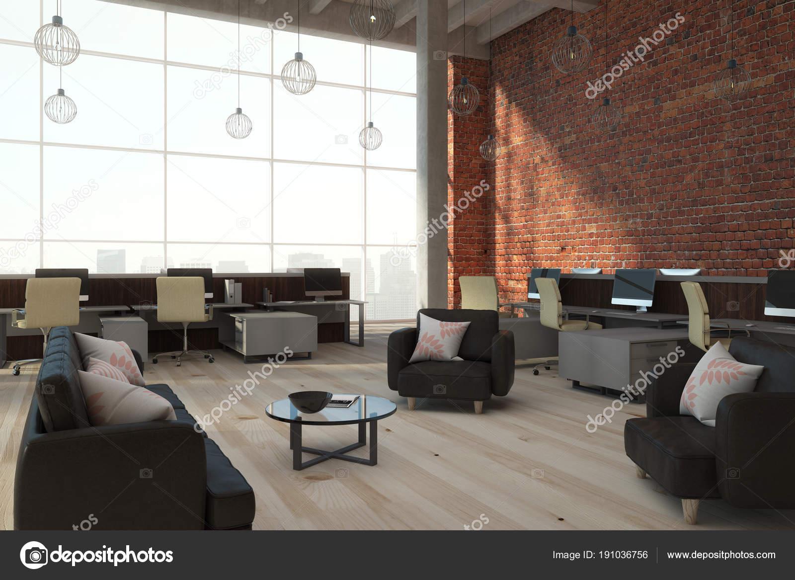 Zeitgenössische Ziegel Coworking Interieur — Stockfoto © peshkova ...