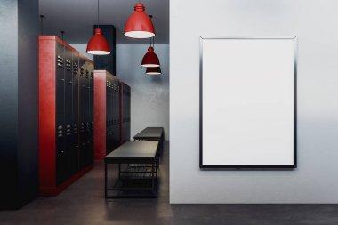 Modern locker room with empty poster