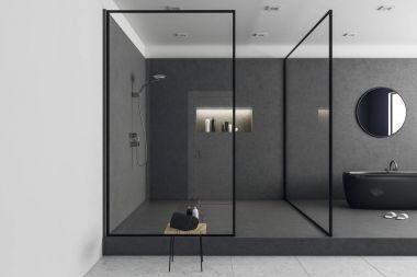 New glass bathroom interior