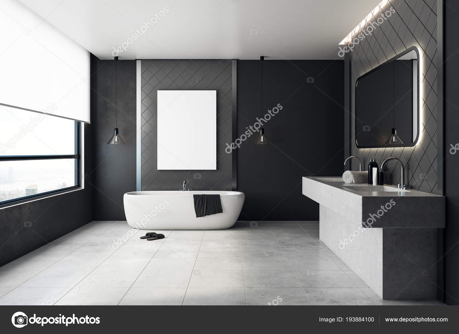 Salle de bain contemporaine avec bannière vide ...