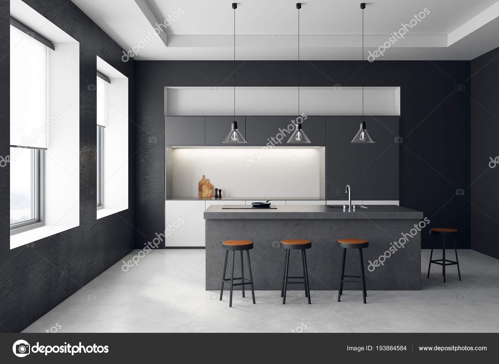 Moderne dunkle Küche Interieur — Stockfoto © peshkova #193884584