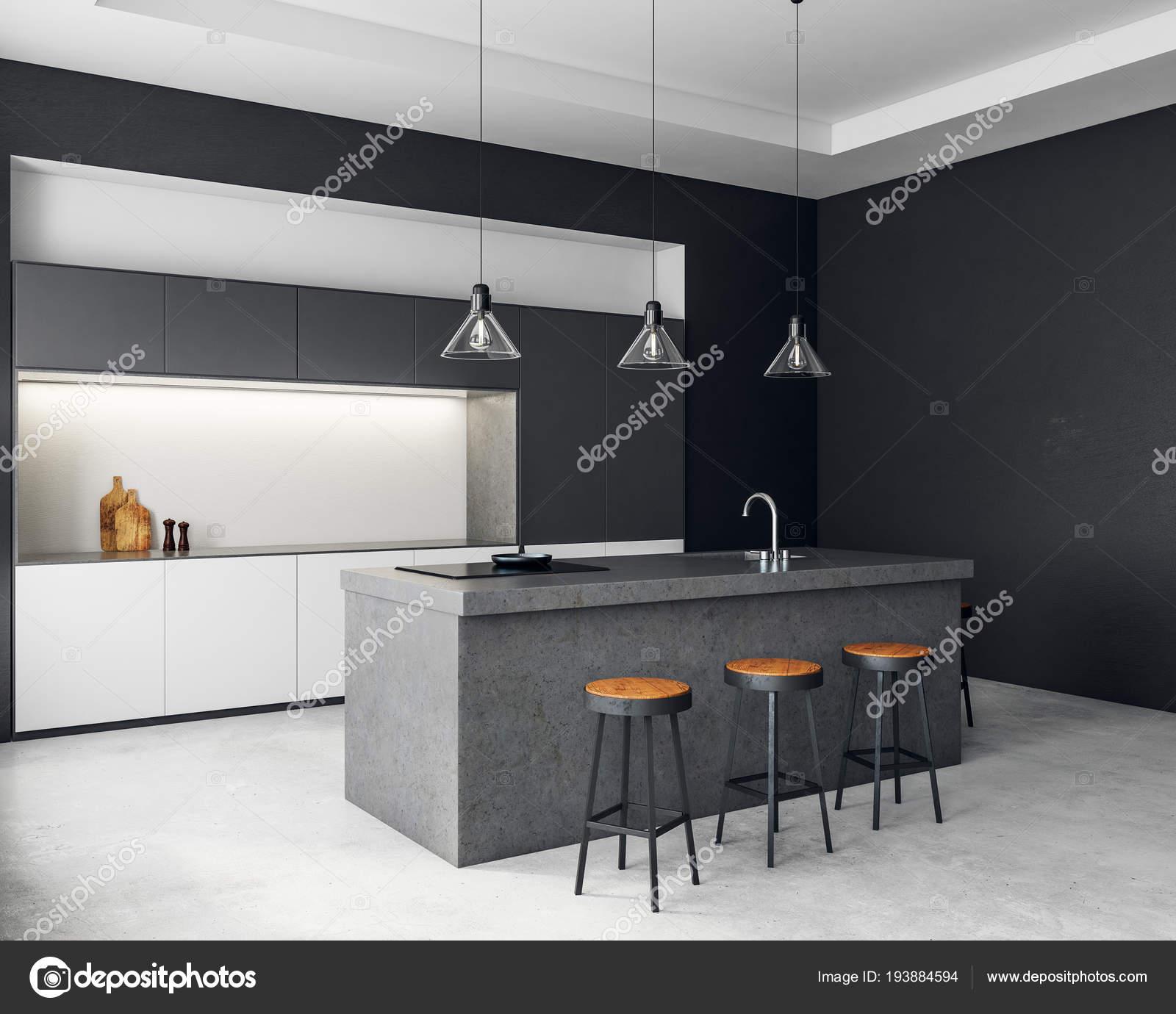 Intérieur contemporain cuisine sombre — Photographie peshkova ...