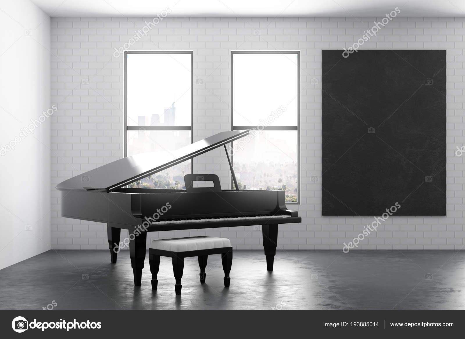Modernes interieur mit klavier und poster u stockfoto peshkova