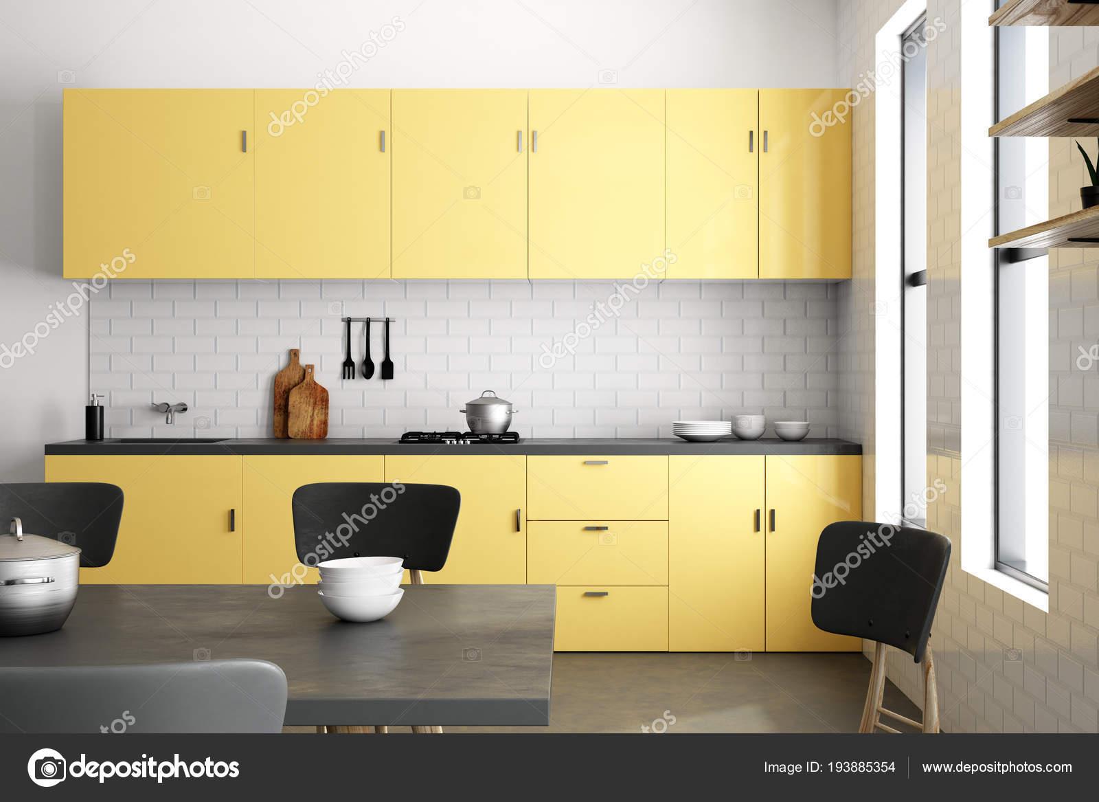 Fantastisch Gelbe Luxus Küche Interieur Mit Möbeln Und Geräten. Stil Und Design Konzept.