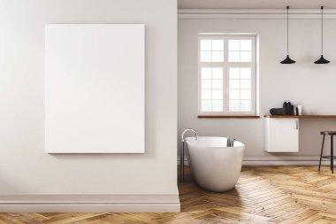 Modern concrete bathroom with blank banner