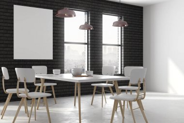 Modern dining room with billboard