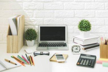 Modern designer workspace closeup